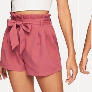 Pants - Self tie waist paper bag shorts